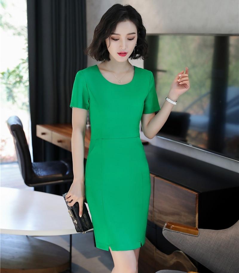 60522db88e2 Fashion Green Women Dresses Short Sleeve Ladies Office Work Uniform Styles  Female Dress Slim Hips Mini