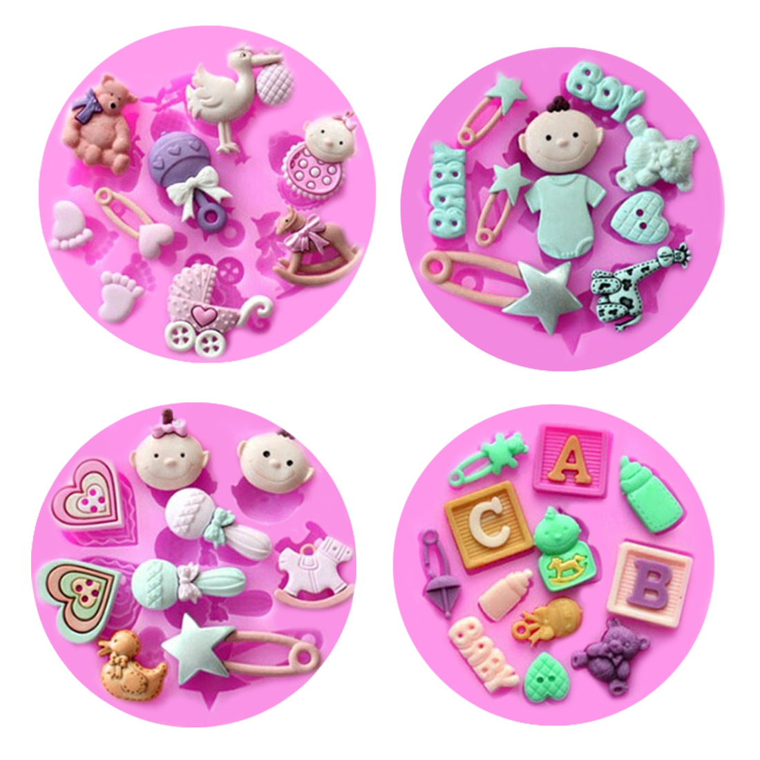 1PC Silicone Mold Baby Theme Baby Carriage Baking Pan Cake Decorating Tools Chocolate Soap Mold Cake Stencils Kitchen DIY Tool