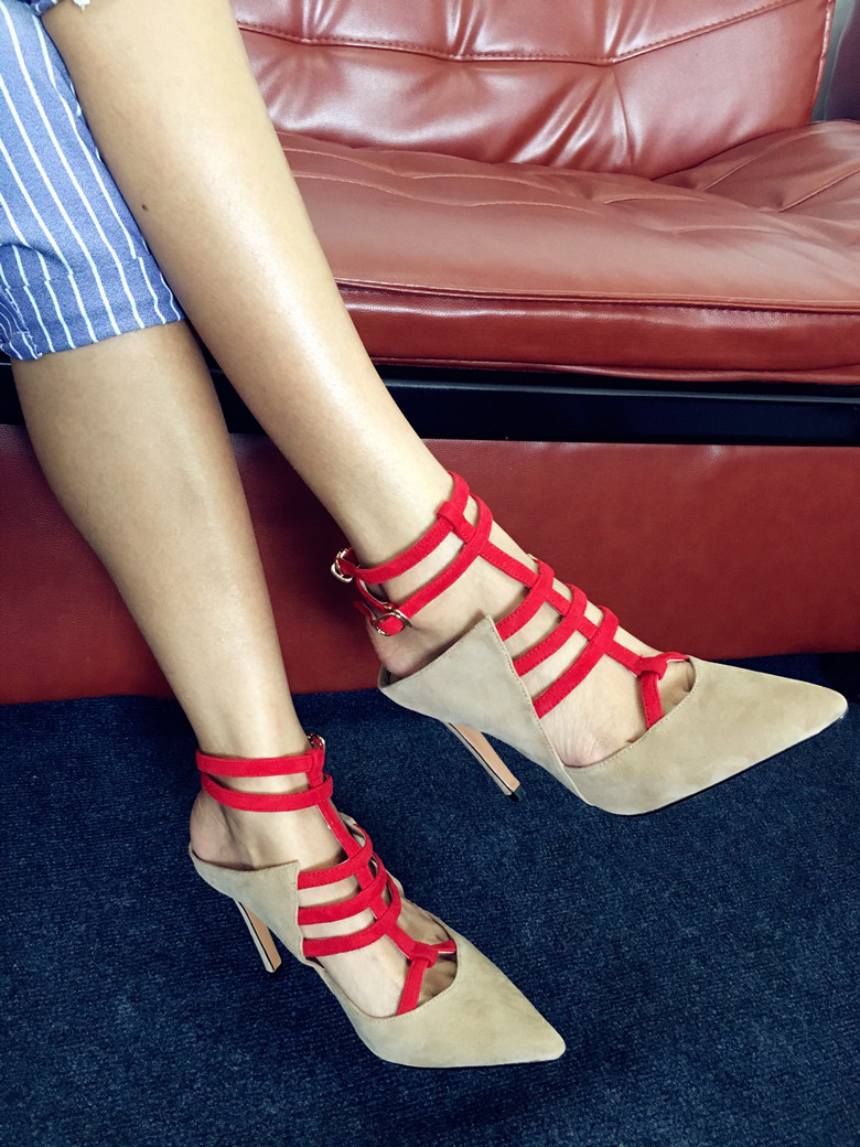 Apricot Red 10 cm High Heels Zapatos Mujer Mixed Colors Kid Suede Sexy Ladies Shoes Stiletto Pointy Toe Runway Party Dress