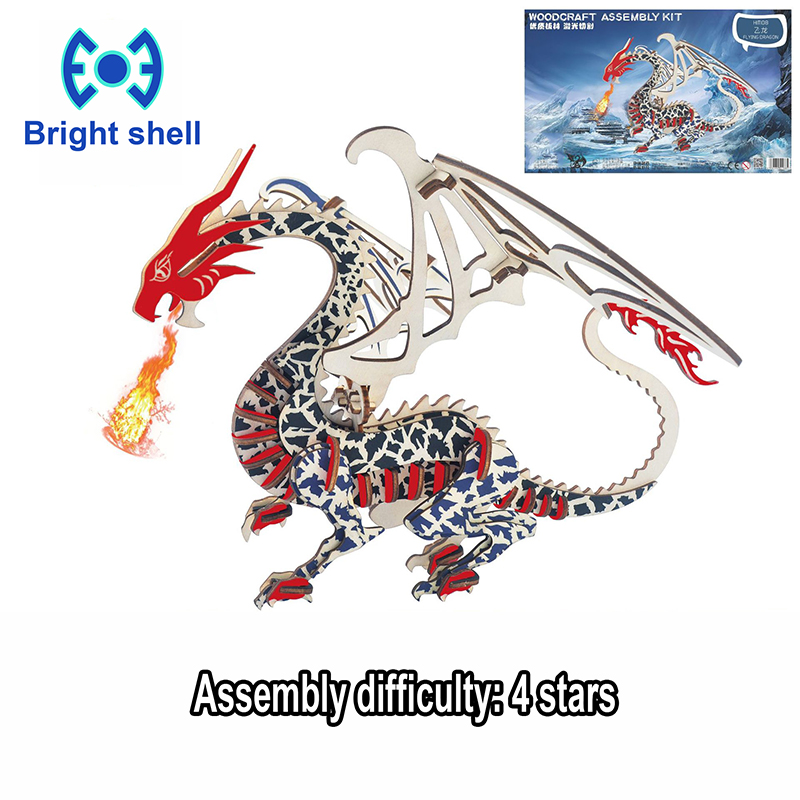 DIY Arts And 3D Dragon Handmade Wooden Craft Toys Party Arts Puzzles Model Decoration For Children Kid Toy Birthday Best Gift