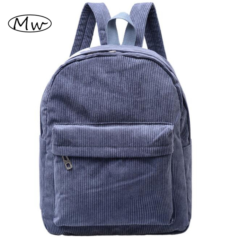 Women Backpack 2016 Solid Corduroy Backpack Simple Tote Backpack School Bags For Teenager Girls Students Shoulder Bag Travel Bag corduroy goes to school