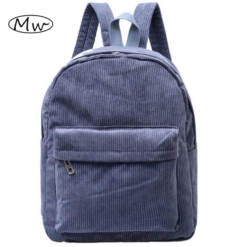 Women Backpack 2016 Solid Corduroy Backpack Simple Tote Backpack School Bags For Teenager Girls Students Shoulder Bag Travel B