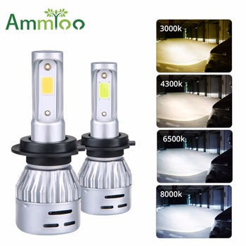 AmmToo H7 Led Car Fog Light H11 Led Bulb H8 H9 H10 H1 9005 HB3 9006 HB4 Daytime Running Lights 8000Lm Auto Fog Lamp 3000K 8000K