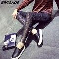 Mulheres Outono Nova Grosso Brilhante Leggings Desgaste Exterior Leggings de Algodão Elásticas Calças Calças Lápis de Personalidade Coreano Carimbo de Ouro Mulheres