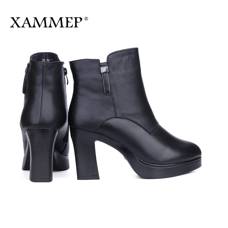 En Véritable Cheville Avec Marque De Haute La Laine Chaussures Cuir Bottes D'hiver Black Xammep Qualité Plate Femmes forme Naturel fn7xx4vT