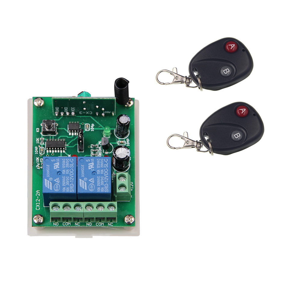 DC 12V 24V 2 CH 2CH RF Wireless Remote Control Switch System,2 X Transmitters + Receiver,315/433.92 MHZ
