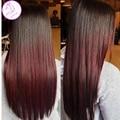 Rosa Продукты Волос 1B Бордовый Бордовый Плетение Волос Пучки 2 тона Виргинский Бразильский Прямые Волосы Ombre Бразильские Наращивание Волос