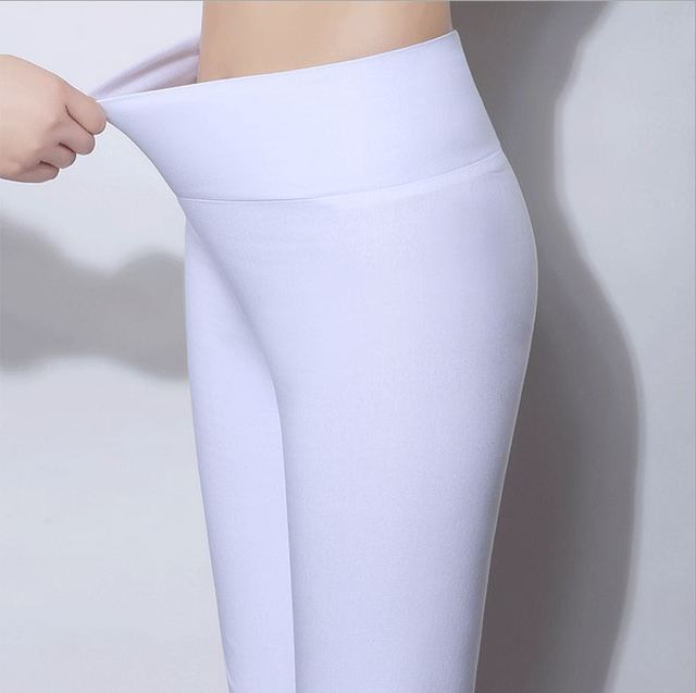 Plus Size 6XL 5XL  New Spring Candy Color Heigh Waist Pencil Pants Women Casual Slim Skinny Pants Lady Trousers Shiny Legging