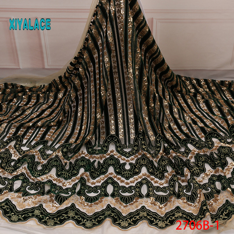 African Lace Fabric 2019 High Quality Nigerian Lace Fabrics Organza Sequins Embroidery French Tulle Lace Fabric YA2706B-1