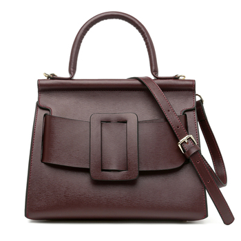Famous Brand Designer Women Handbag Genuine Leather Vintage Bark Grain Big Buckle Top-Handle bags with strap belt Boyy handbag