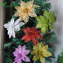 10Pcs Glitter Hollow Flower Decoration Flowers for Christmas Trees for New Year Christmas Decorations Wedding Party