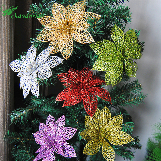 10pcs glitter hollow flower decoration flowers for christmas trees for new year christmas decorations wedding party - Christmas Tree Flower Decorations