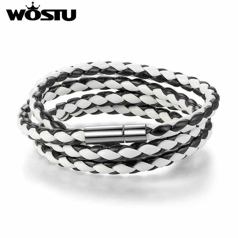 WOSTU 2019 gorąca sprzedaż 6 kolorów 60CM PU Leather Wrap bransoletka z zapięcie magnetyczne wysokiej jakości biżuteria dla kobiet mężczyzn Pulseira