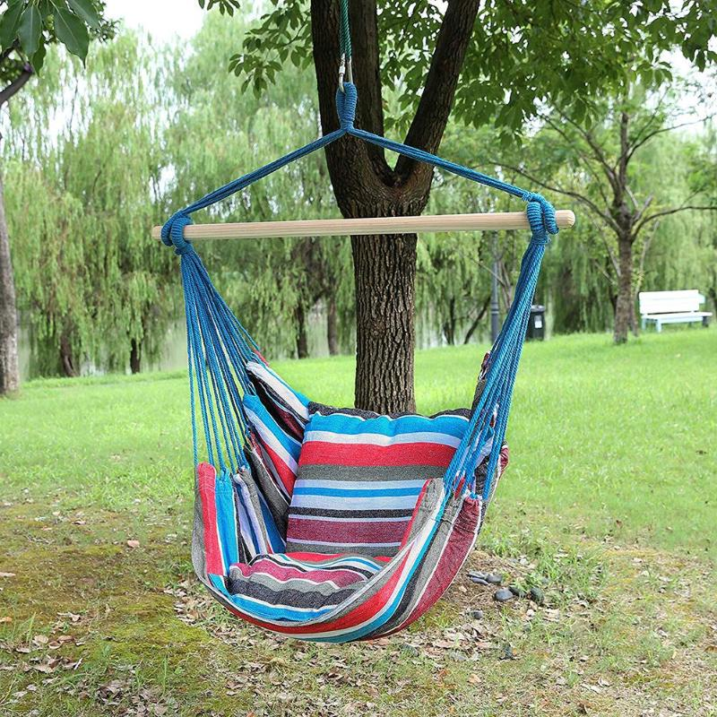 Outdoor Garden Swing Chair Striped Hammock Chair Hanging Chair Seat With 2 Pillows Adults Kids Leisure Hammock Swing Chairs New