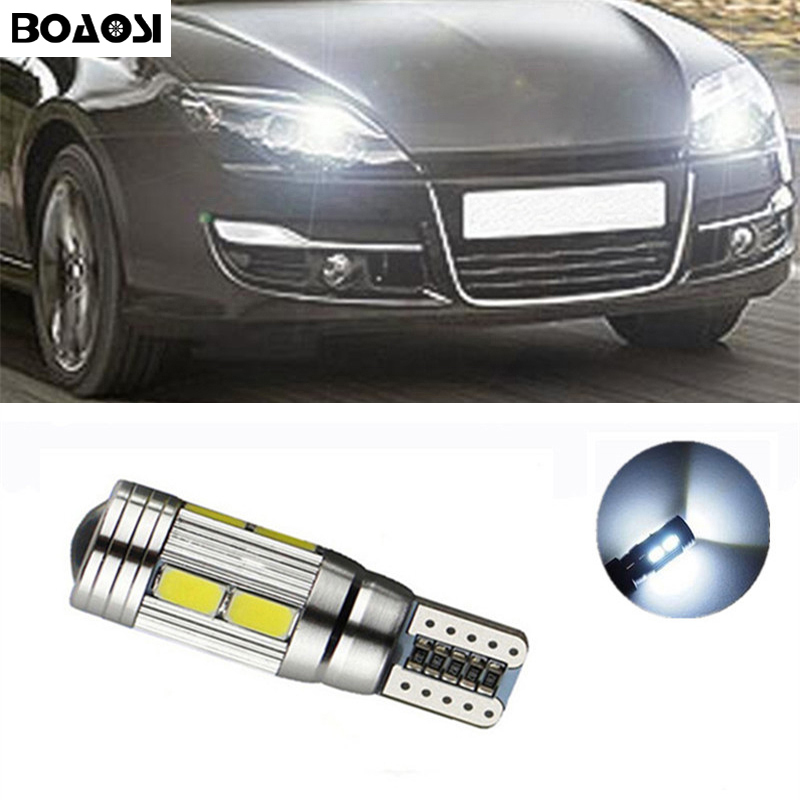 BOAOSI 1x T10 W5W 5630smd LED Clearance Light with Projector Lens for renault megane 2 duster