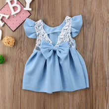цены Two Colors Blue Red Ruffle Bow Knot Newborn Clothes Baby Girl Princess Dress Lace Ball Gown Tutu Girls Party Dresses