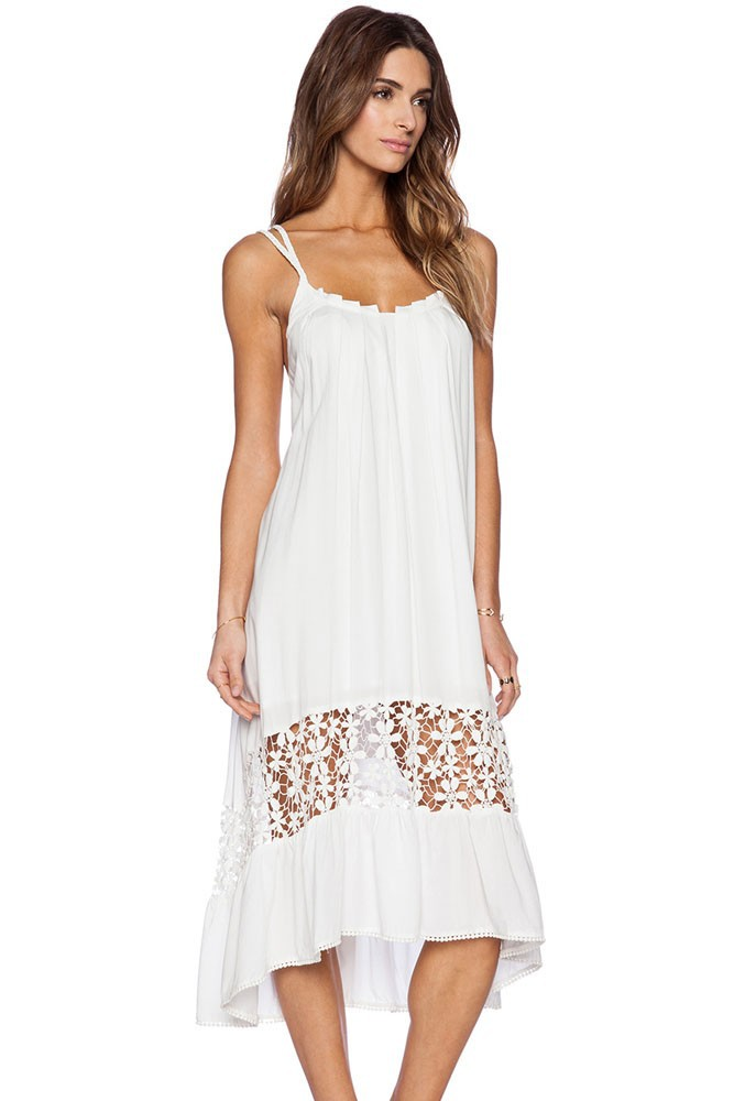 Summer Bohemian Style Dresses 17 White Midi Jersey Hollow Out Dress  Fashion Women Seaside Beach Dress Brazilian 2