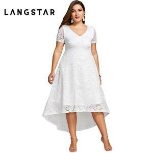 charMma Plus Size Summer Women White Lace Party Dress 2018 e919394e3f56