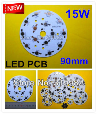 20pcs/lot, 15W LED PCB, DIY led aluminum pcb high power light beads circuit board cooling plate diameter 90mm, freeshipping