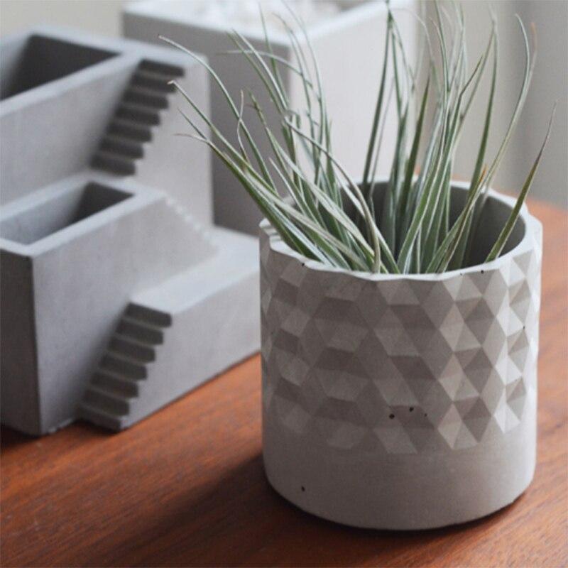 Ciment triangulaire pot de fleurs Silicone moule plantes succulentes béton moules à la main argile artisanat moule pour la décoration de la maison
