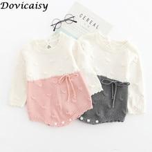 Вязаные Комбинезоны для маленьких девочек; шерстяные вязаные комбинезоны с длинными рукавами; треугольный комбинезон для маленьких принцесс; осенне-зимняя одежда для малышей