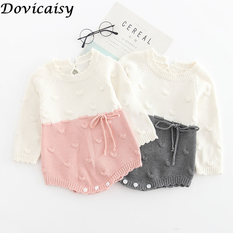 Baby Girl's knit   Rompers   Long Sleeve Wool Knitted   Rompers   Baby Princess Triangle Jumpsuit Toddler Kid's Autumn Winter Clothing