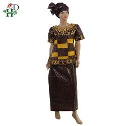 H & D robe for africaine femme Bazin riche robes africaines traditionnelles pour women100 % coton dashiki couple express vêtements