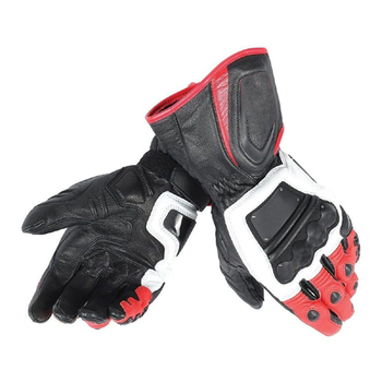 NEW 2018 Dain 4 Stroke Long Motorcycle Gloves Whi/Red/Blk Motorcycle Motorbike Riding Black Genuine Leather Men's Gloves