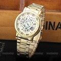 2017 Nuevas Señoras de La Manera Reloj de Oro Color de Mens Relojes casual Reloj de Acero de Primeras Marcas de Lujo Venta Caliente Vestido de Las Mujeres Relojes