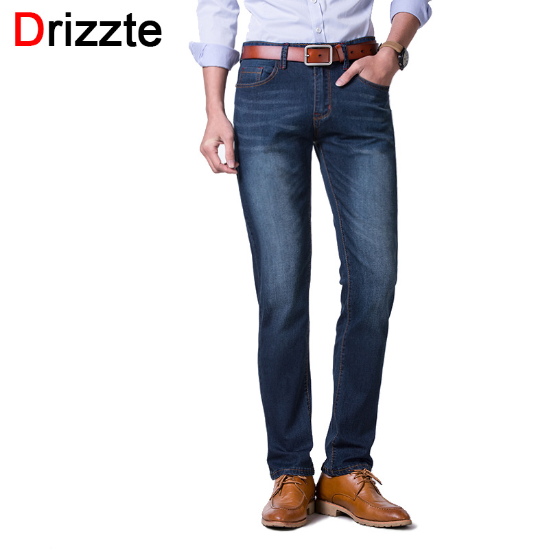 Drizzte Plus Size 28 to 48 Summer Thin Stretch Blue Denim Mens Jeans Pants Trousers Big Large Jean for Men drizzte mens vintage wash white patch ripped jeans blue denim harem jean pants trousers for men 28 42 plus size japan army style