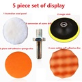 "5pcs 3/4/5"" sponge polishing waxing buffing pads kit set compound for auto car free shipping"