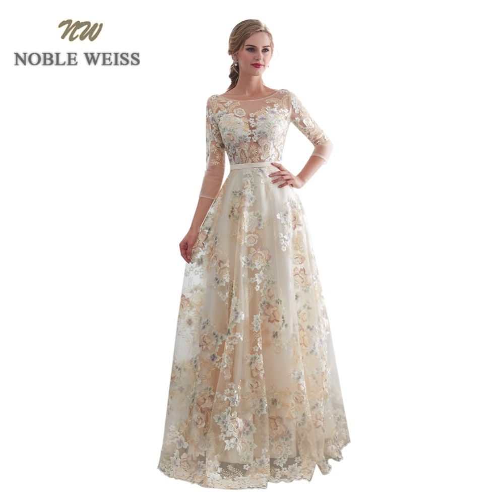 NOBLE WEISS 3 4 Sleeves Evening Dresses 2019 Sheer O Neck Lace Prom Gowns Formal A