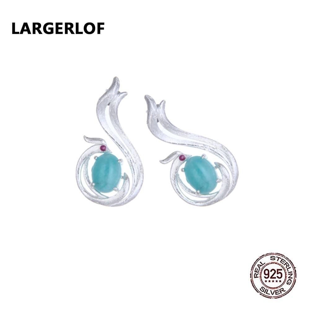 LARGERLOF 925 Sterling Silver Earrings Female Amazonite Fine Jewelry Zircon Stud Earrings For Women ED350148 gradient triangle zircon 925 sterling silver earrings 1 pair