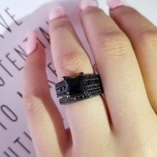 Cor preta anéis de casamento conjunto nupcial clássico anel de banda de noivado para mulheres luxo ghana nigéria jóias r4766black
