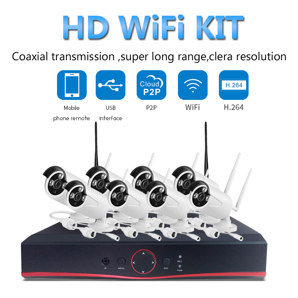 PUAroom 8CH IP Full HD IP66 waterproof surveillance cameras RoHS FCC CE approved H.264 NVR safe home security