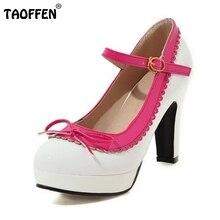 Taoffen/женские ботильоны с ремешком туфли на высоком каблуке женские бабочкой круглый носок ботинки на каблуках Модная обувь на платформе партия обуви Размеры 32-48
