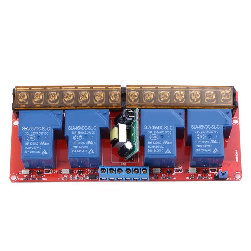 4 Channel Relay Module Board Shield 5V DC AC100-250V 30A High And Low Level Trigger Power Supply Module 10 pcs red 2 pin spst off on n o round momentary push botton switch 1a 250v ac