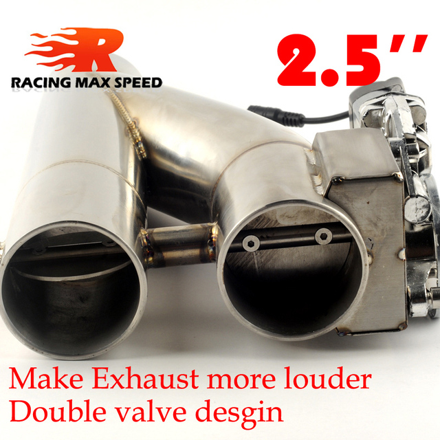 2.5 inch 3 inch stainless Steel doubled valve Pipe Muffler Catback Bypass Exhaust Trim Down Tube Remote Control YTR