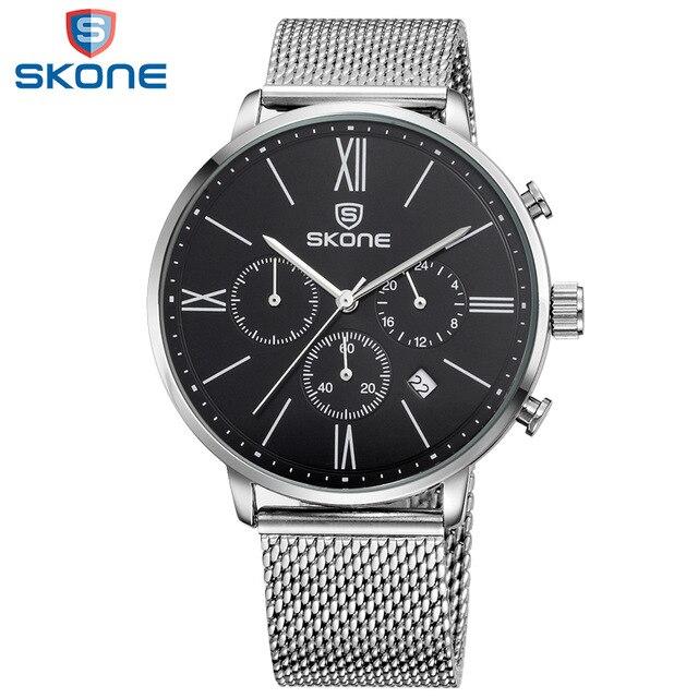 SKONE Watches Men Stainless Steel Band Montre Homme Multifunction Mens Wrist Watches Relogio Masculino 2017 Male Clock #7391EG