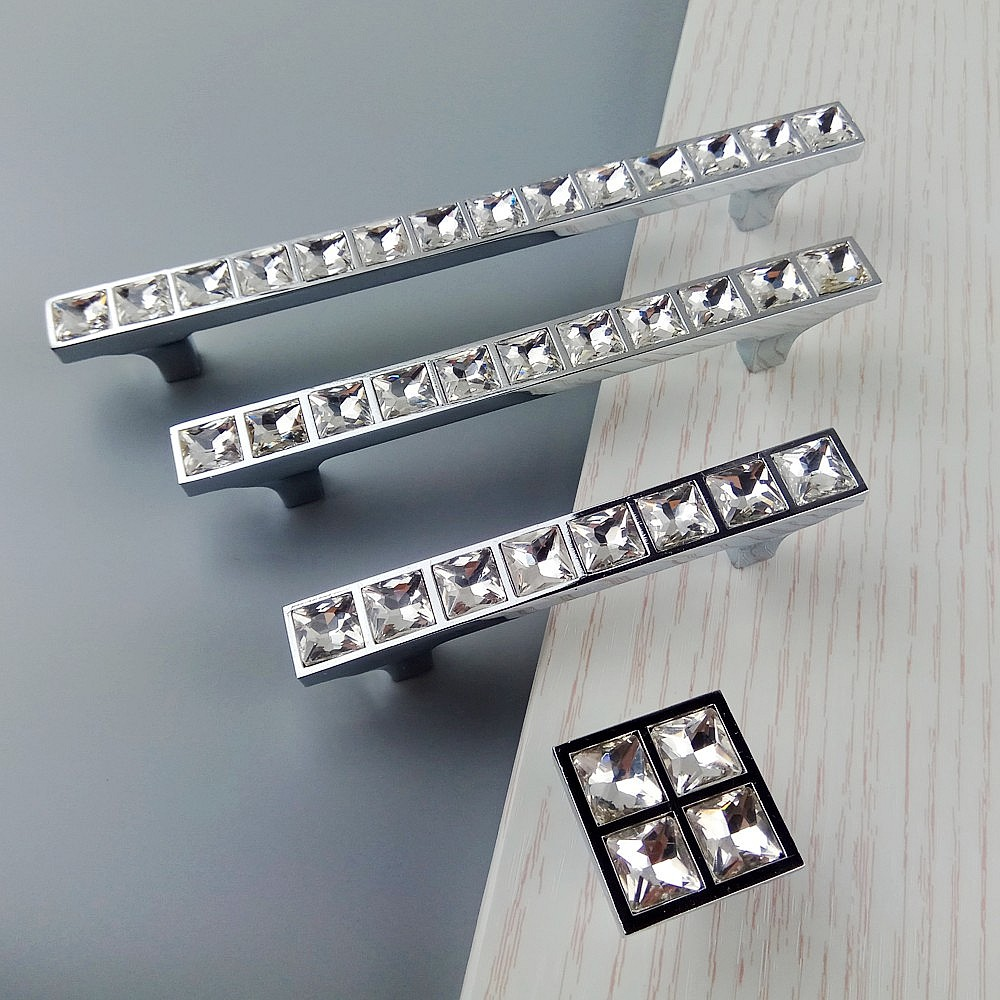 Super Shiny Crystal Glass 3D Diamond Handles Furniture