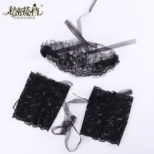 Sex Handcuffs 1 Set Adult Game Products Women Sexy Hot Black Lace Eye Covers With Pair Gloves Hand Wrap Flirting Toy