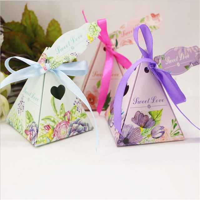 100pcs Lot New Arrival Pyramid Triangle Wedding Favor Bo Candy Box Chocolate For