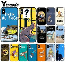 Yinuoda The Adventures of Tintin Black TPU Soft Silicone Phone Cover for iPhone 8 7 6 6S Plus X XS MAX 5 5S SE XR Cellphones 1x the adventures of tintin figure set destination moon new
