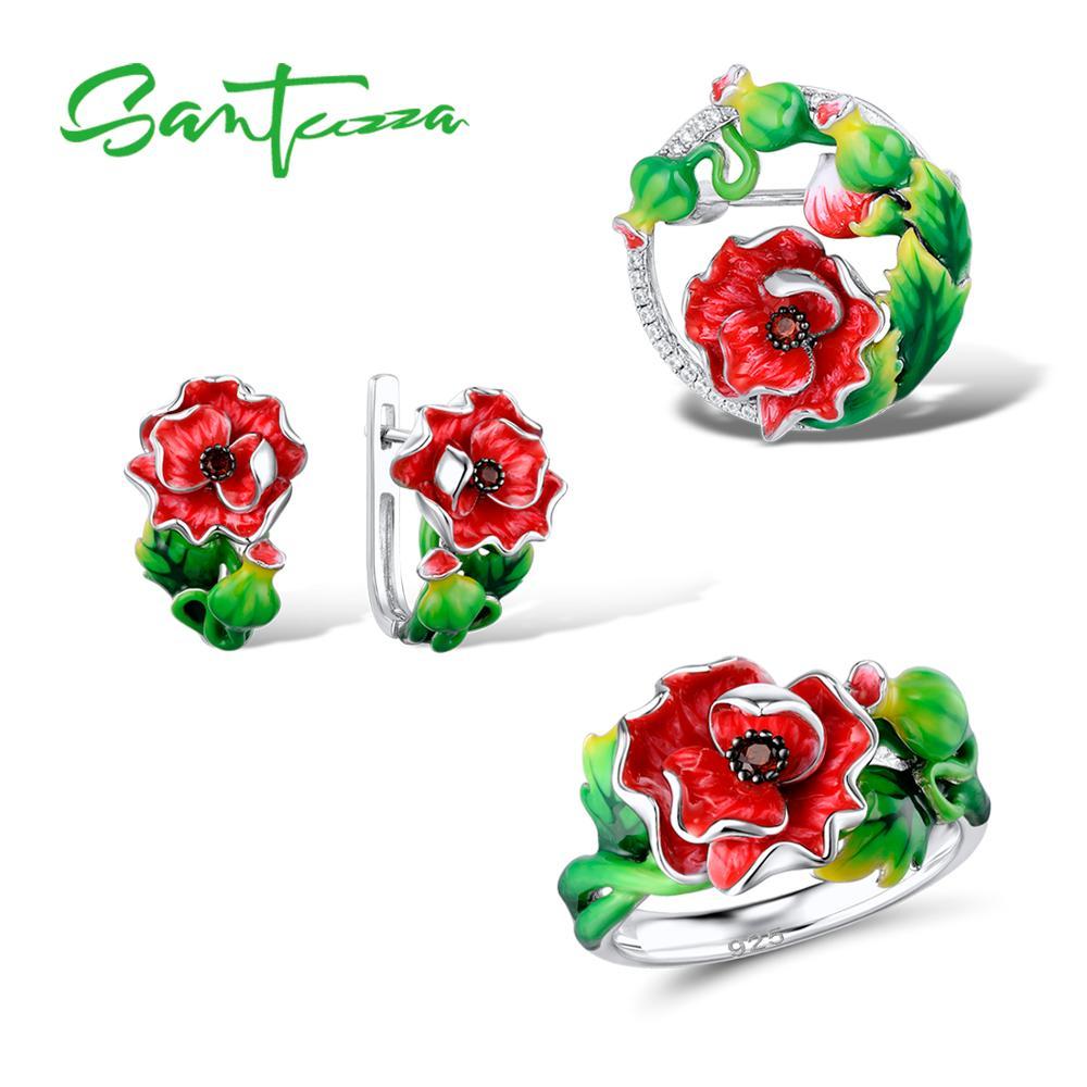 SANTUZZA Silver Jewelry Set For Women 925 Sterling Silver Exquisite Red Flower Ring Earrings Brooch Set Jewelry HANDMADE Enamel