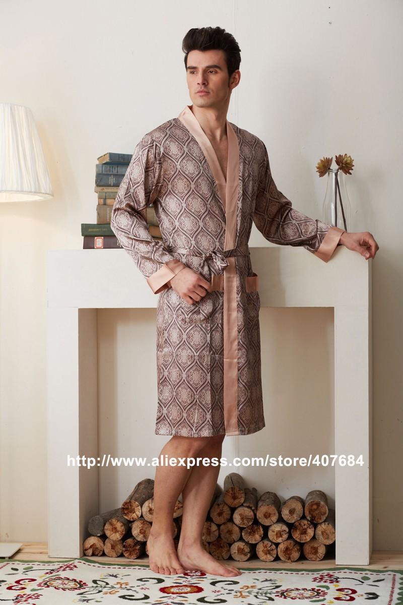 Xifenni Robes Men Softness Satin Silk Sleepwear Male Geomtric ... 362614dd4