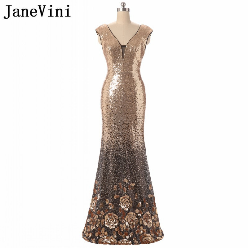 JaneVini <font><b>2018</b></font> Luxury Gold Sequined Long <font><b>Mother</b></font> <font><b>of</b></font> <font><b>The</b></font> <font><b>Bride</b></font> Dresses <font><b>Sexy</b></font> Deep V Neck Backless Mermaid Formal Evening Party Gowns image
