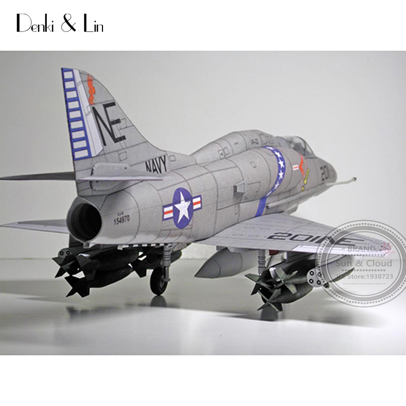 1:32 DIY 3D American Douglas A-4 Skyhawk Fighter Plane Aircraft Paper Model Assemble Hand Work Puzzle Game DIY Kids Toy