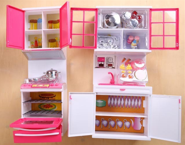 [Funny] Mini Anna Elsa light Kitchen supplies Toys Hutch ark/microwave oven/vegetable/Bo ...