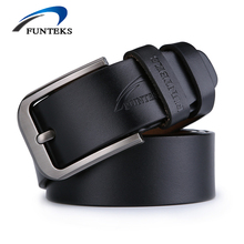 FUNTEKS Belt Men Genuine Leather Luxury Strap Male Belts For Men Buckle Fancy Vintage Jeans Ceinture Homme Cintos Masculinos