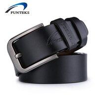 FUNTEKS Belt Men Genuine Leather Luxury Strap Male Belts For Men Buckle Fancy Vintage Jeans Ceinture